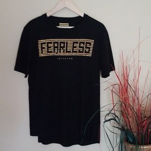 SEAN JOHN Fearless Black and Gold Embellished Top